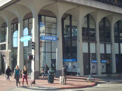 Chase Bank currently has four logo displays on the Shattuck Avenue /