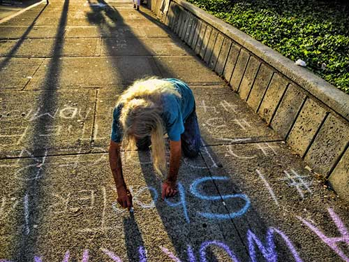 Chalk it up to Delacour, who launched Occupy Berkeley from People's Park. After chalking last night, he left