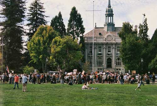 Occupy Berkeley arrives in Provo Park facing Old City Hall. Overnight encampment will move from Bank of America Plaza to park to accomodate an anticipated swelling in the ranks as movement grows