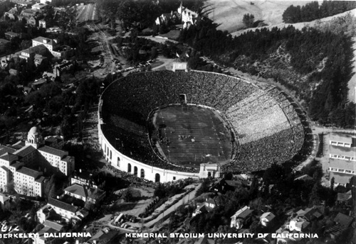 A bird's-eye view of Memorial Stadium from a vintage photo postcard.
