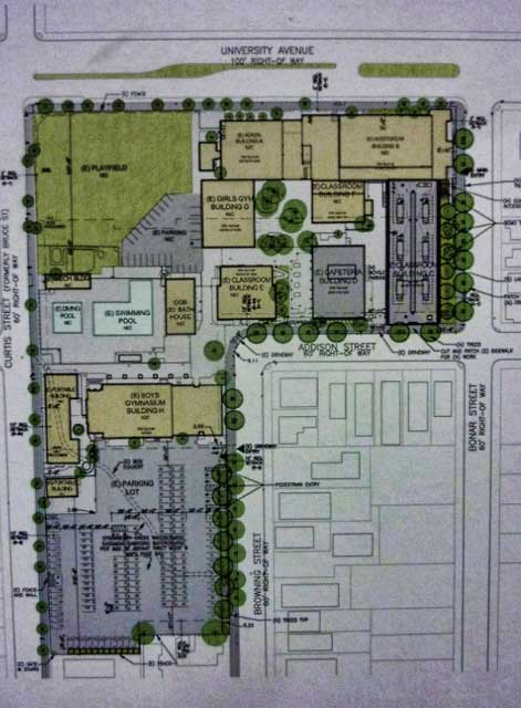 "The site plan for the West Campus projects, presented at the meeting. University Avenue is at the top. The prospective City Council meeting location is the small, grey, building at center right, just above the ""Addison Street"" label."
