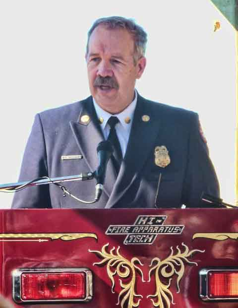 Oakland Interim Fire Chief Mark Hoffmann spoke at the 20th anniversary memorial for the 1991 Firestorm in the Oakland / Berkeley Hills.