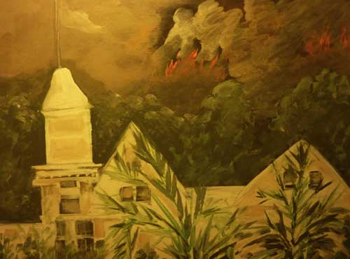 This eye-witness painting expressed the scene as the flames burned down the hill behind the Claremont Hotel.