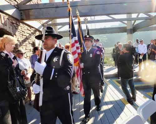 A color guard of Oakland Police and Firemen opened the ceremony.