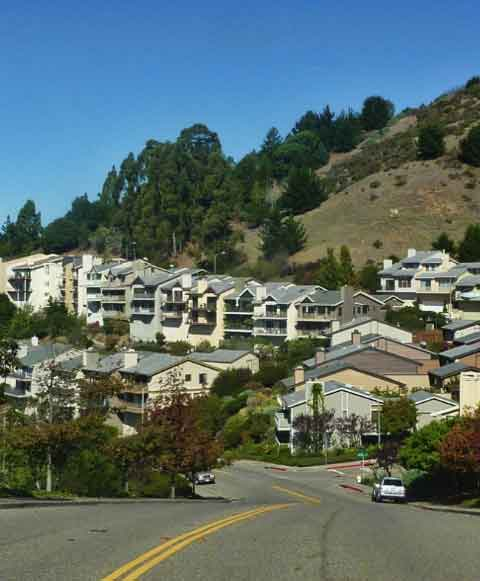 Above, in Hiller Highlands, there's a matrix of grassland, rebuilt homes, and regrown trees.