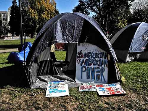 "A tent in Southwest encampment in MLK Park, which is not aligned with Occupy Berkeley, and thinks it's ""snooty"""