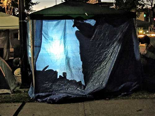 View of an Occupy Berkeley tent in Martin Luther King Civic Center Park last week