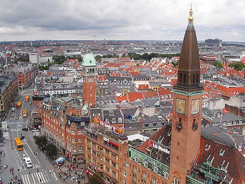 Downtown Copenhagen, seen from the City Hall tower.