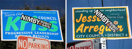 Measure R proponents defaced candidates' signs in the Berkeley City Council race which ended Tuesday.