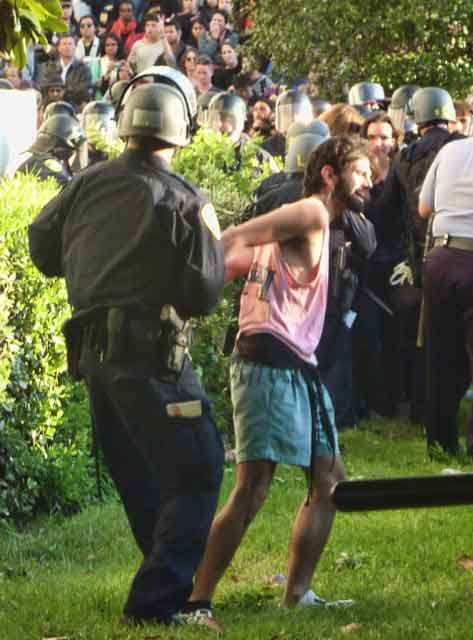 One protestor who had previously been sitting on a windowsill of Sproul Hall was arrested.