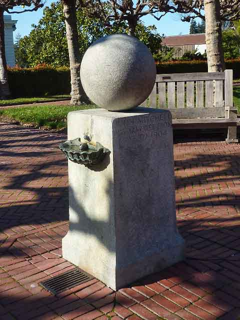 The oldest veterans memorial on the UC Berkeley campus is the Mitchell monument, honoring a 19th century Congressional Medal of Honor winner who later served as the campus armorer, maintaining weapons for the University's Cadet Corps.