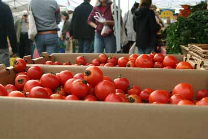Organic produce can have a cost structure that sometimes defies logic. Tomatoes wait for takers at a Berkeley farmers market.