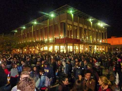 The Occupy UC crowd filled the center of Sproul Plaza.