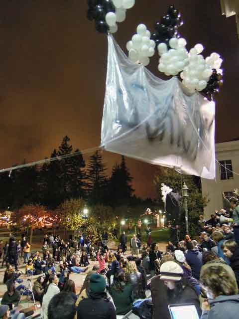 Occupy Cal general assembly takes to the air, Thursday evening.