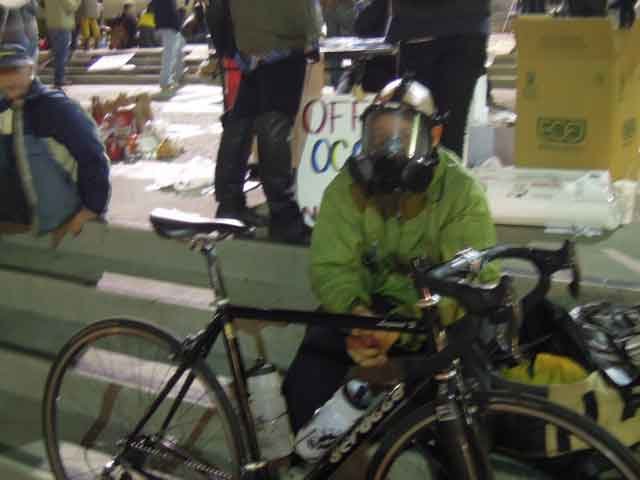 A student at Occupy Cal showed up prepared for action after police removed tent encampment  early Wednesday.