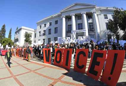 "Protesters demand that UC officials ""Hear Our Voices!"""