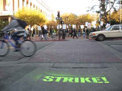Strikers began picketing entrances to the UC Berkeley campus at 7 a.m. Wednesday.