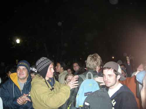 Student occupiers greet their friends after being released from Wheeler Hall.