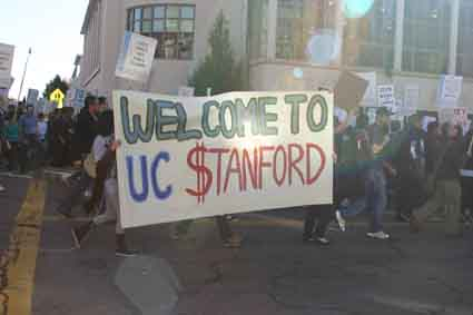 "Students demonstrate against the ""privatization"" of the University of California."