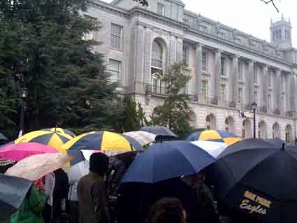 Despite the rain, students surrounded Wheeler Hall Friday in support of protesters who occupied the building.