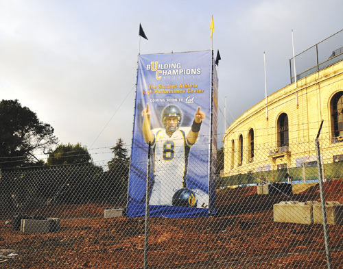 A large metal framework adorned with an image-boosting icon is the only structure erected to date at the site of the now-removed oak grove along the western wall of UC Berkeley's Memorial Stadium.