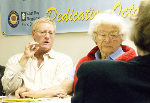 Veteran environmental activist Sylvia McLaughlin listens as Berkeley developer James D. Levine pitches his project to build a casino at Richmond's Point Molate.