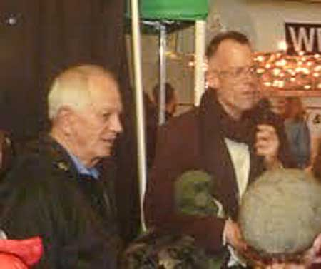 Berkeley Mayor Tom Bates and Downtown Berkeley Association head Jon Caner officiated at the tree lighting.