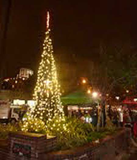 The holiday tree, which DBA hopes will be an annual tradition, rose from the planter next to the main BART station entrance.