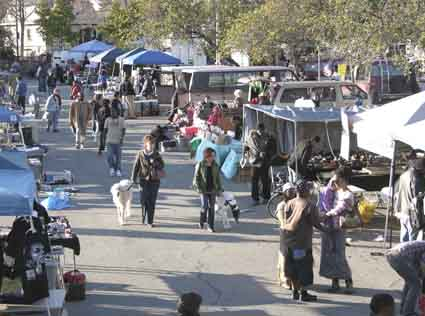 The Berkeley Flea Market as seen from Adeline Street.
