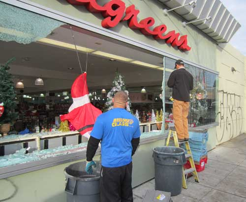 Windows at Walgreen's store between Shattuck and Adeline at Russell are under repair.