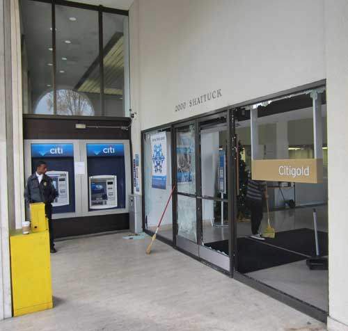 City Bank doors are being fixed.
