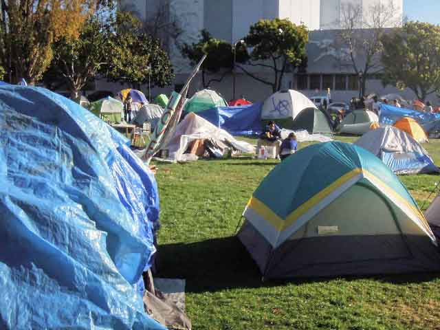 "A portion of the burgeoning encampment at the ""other"" Occupy Berkeley, Monday at MLK Civic Center Park."