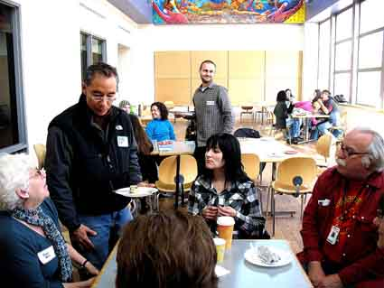 BCC Global Studies Program Coordinator Joan Berezin, De Anza instructor and Peralta Community College Trustee Nicky Gonzalez Yuen, Galileo High School teacher Kristy Morrison and BCC Multimedia Arts Co-Chair Joe Doyle at Saturday's meeting at Berkeley City College.