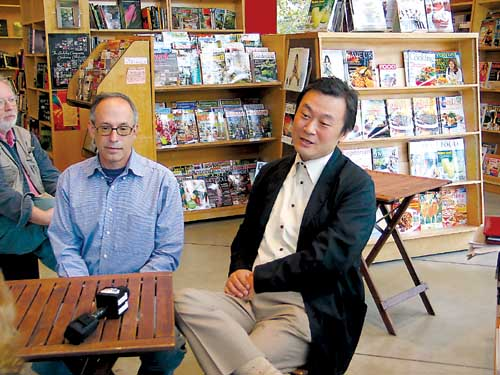 Andy Ross, left, and Hiroshi Kagawa announced the sale of Cody's Books to Yohan, Inc. in September 2006. Last week Ross retired as president of Cody's. Kagawa will serve as interim president.