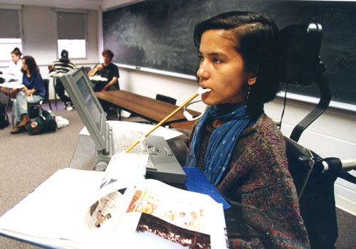 Miya Rodolfo-Sioson, in a photograph taken in 1993 or 1994 in a classroom at the University of Iowa, where she was majoring in Spanish.
