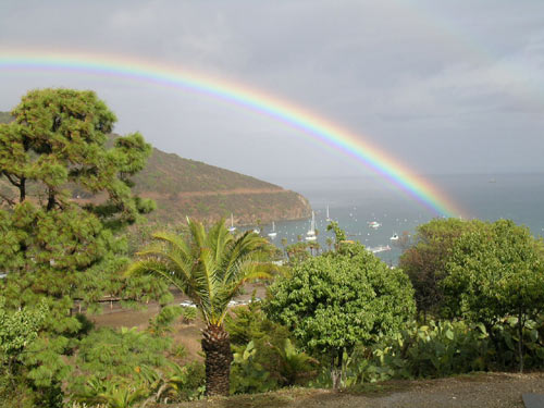 A rainbow over Isthmus Cove