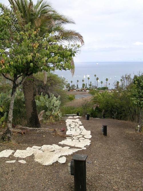Steps lead down to Isthmus Cove. The Banning House provides guests a free shuttle on demand
