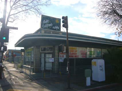 The closed Auto California, at 1806 San Pablo Ave, the former site of a Japanese Florist, is scheduled to be demolished next week.