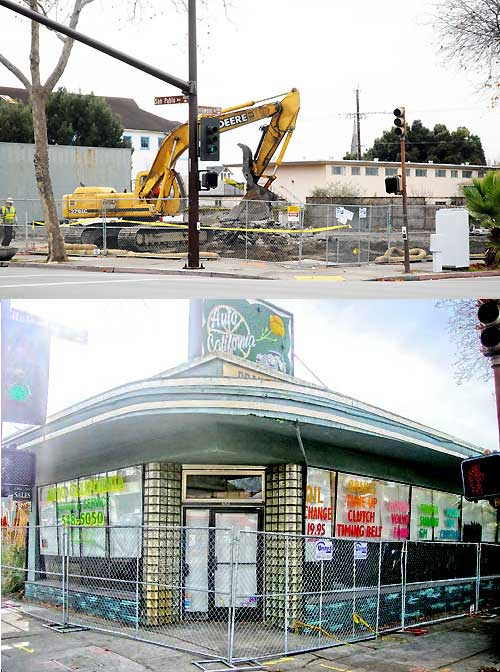 The former San Pablo Florist and Nursery at 1806 San Pablo Ave., the front page photograph of Friday's Planet, was reduced to rubble early Saturday to make way for condos in West Berkeley.