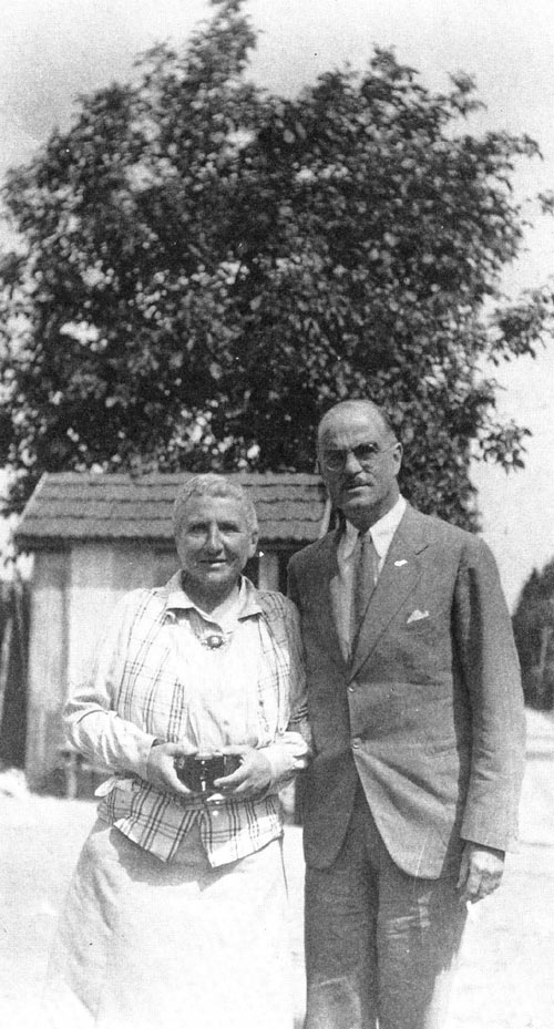 Thornton wilder and Gertrude Stein in 1937 at her country home at Bilignin, in the Rhone Valley.