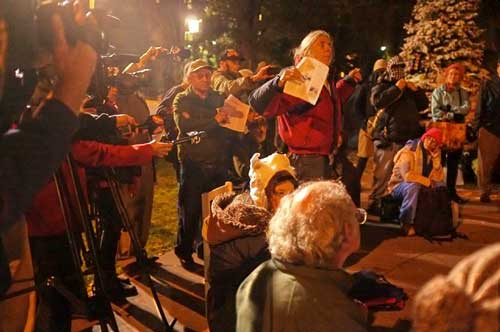 Michael Delacour proposes to Occupy Berkeley  general assembly  shutting down three blocks of Shattuck for the holidays. Wednesday night, as Occupiers face eviction.