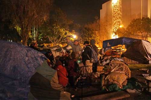Inside the Occupy Berkeley camp Wednesday night, as campers from Oakland assert their defiance.