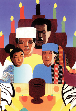 This Kwanzaa card by Adrian Harper is one of many distinguished creations available from Frederick Douglass Designs.