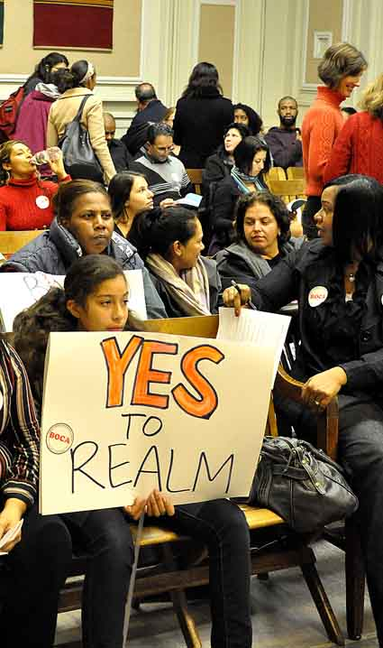 REALM charter school proponents express their support at the school board meeting.