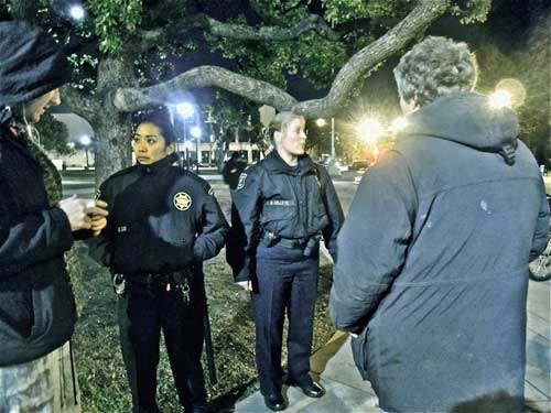 Officers Lee, left, and Kelly, right, explaining themselves to GA last week.